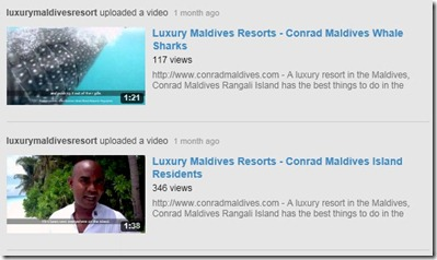 Conrad Maldives Rangali youtube videos