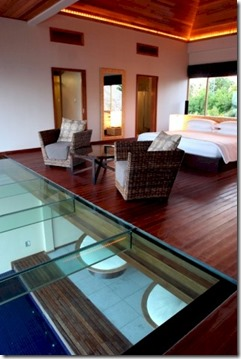 Huvafenfushi two bedroom beach pavillion with pool glass floor 2