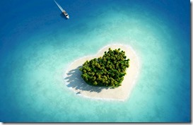 Maldives heart shaped island