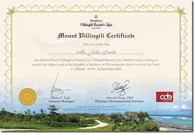 Shangri-La Mount Villingili certificate