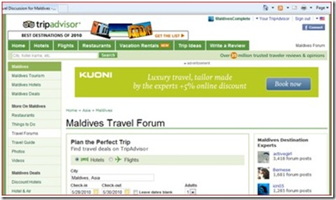 Trip Advisor - Maldives Forum