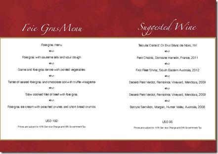 Dusit Thani - specialty menus