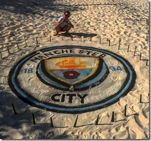 JA Manafaru - sand painting Man City