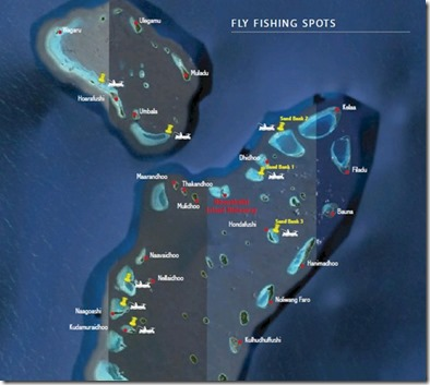 Hideaway Beach - fly fishing area map